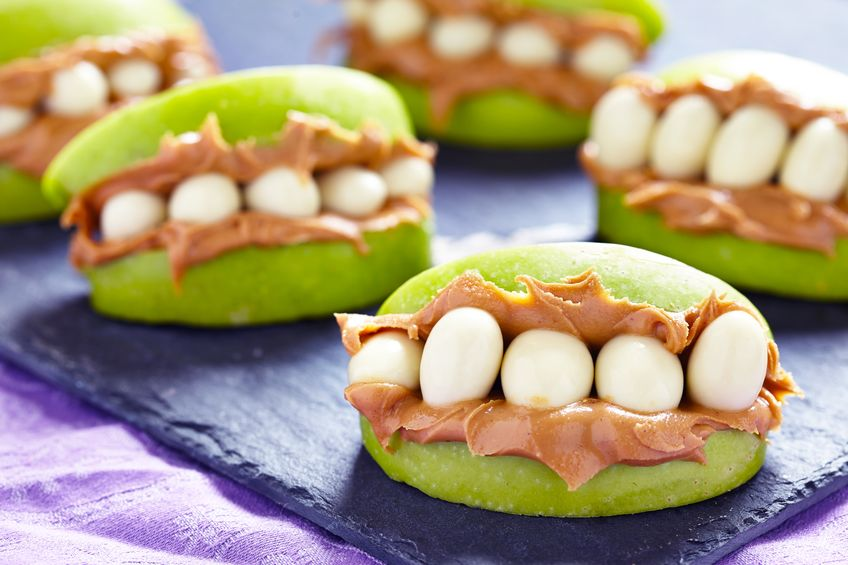 Halloween apple and peanut butter teeth. White River Dental Columbus Indiana.