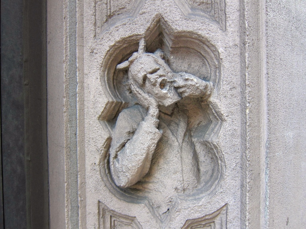 By Bosc d'Anjou. Toothache. A carving in the facade of 285 Madison Avenue.